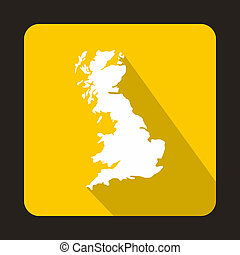 White map of United Kingdom icon, flat style - icon in flat...