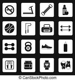 Fitness icons set, simple style - icons set in simple style...
