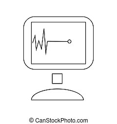 Monitor with cardiac arrest icon, outline style - Monitor...