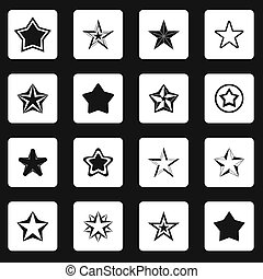 Star icons set, simple style - icons set in simple style set...