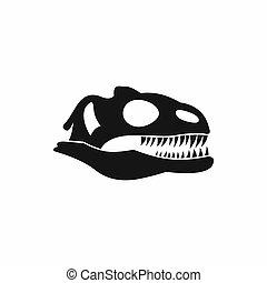 cráneo, de, Dinosaurio, icono, simple, estilo
