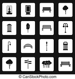 Park icons set, simple style - icons set in simple style set...