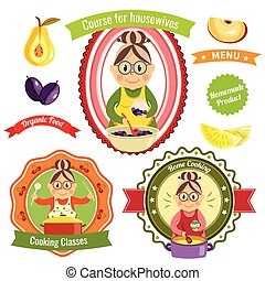 Home Cooking Logos - Home cooking logos with housewife and...