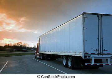 semi, camión, estacionado, resto, área