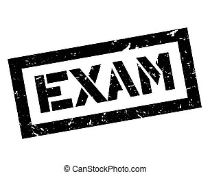 Exam rubber stamp on white. Print, impress, overprint.