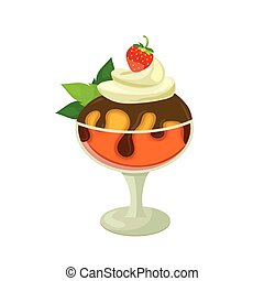 Strawberry ice cream with mint on a white background. Vector...