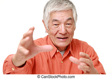 senior Japanese man with supernatural power