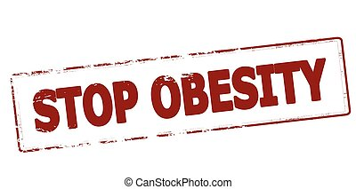 Stop obesity - Rubber stamp with text stop obesity inside,...