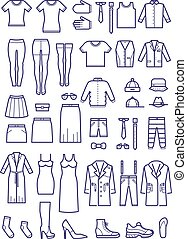 Female and male casual clothes, garment outline vector icons