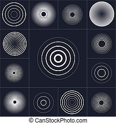 Radar screen concentric circle element set. Sound wave....