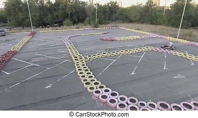carting race drone view shot - karting race drone view shot...