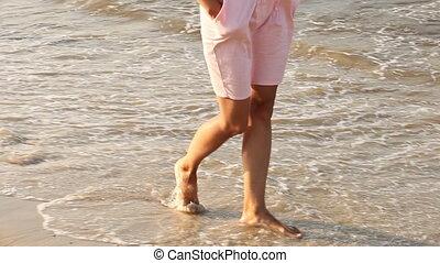 Girl walking barefoot