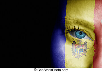 Supporter of Moldova - A young female with the flag of...