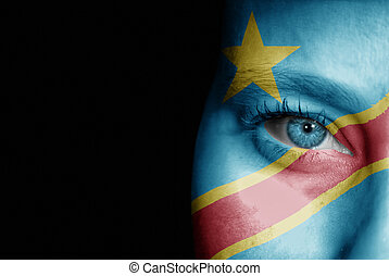 Supporter of Congo Democratic Republic - A young female with...
