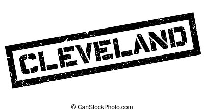 Cleveland rubber stamp on white. Print, impress, overprint.