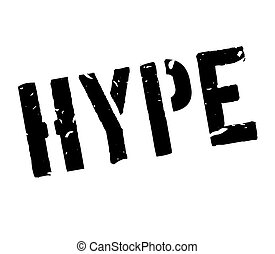 Hype rubber stamp on white. Print, impress, overprint.