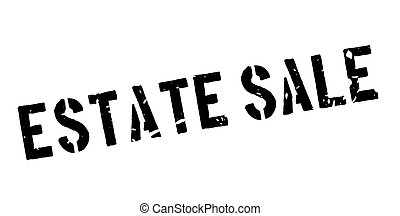 Estate Sale rubber stamp on white. Print, impress,...