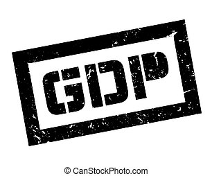 GDP rubber stamp on white Print, impress, overprint