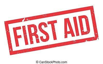 First Aid rubber stamp on white Print, impress, overprint
