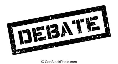 Debate rubber stamp on white. Print, impress, overprint.