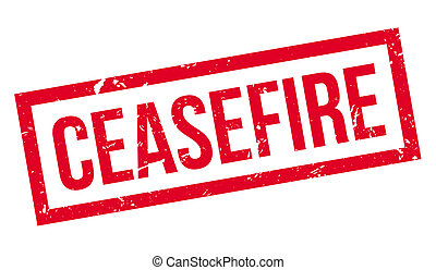Ceasefire rubber stamp on white. Print, impress, overprint.