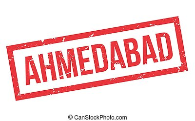 Ahmedabad rubber stamp on white. Print, impress, overprint.
