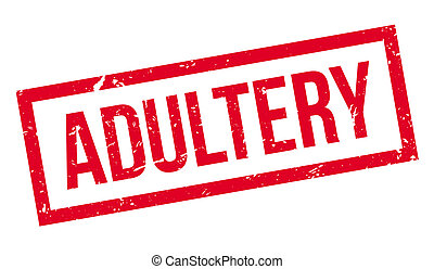 Adultery rubber stamp on white. Print, impress, overprint.