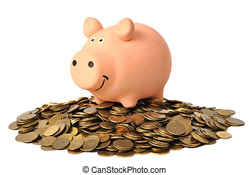 Piggy Bank and Coins - Pink piggy bank standing on coins...