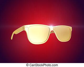 Golden sun glasses. 3d rendering