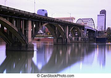 Bridge in Little Rock, Arkansas. Morning time.