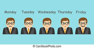 emotions and days of the week - businessman and different...