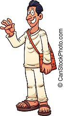 Man in white - Tan man in white clothes and sandals. Vector...