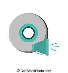 cd and megaphone icon - flat design cd and megaphone icon...