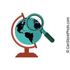 earth globe and  magnifying glass icon