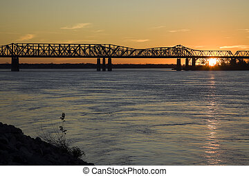 Sunset by Mississippi river - Memphis, Tennessee