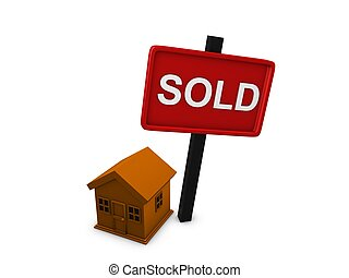 House sold - 3d image, conceptual house sold