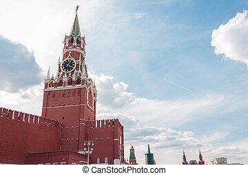 Spasskaya tower in Kremlin - Spasskaya Tower in the Kremlin,...