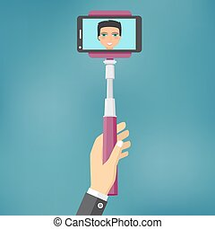 Self Portrait Tool For Smartphone - Hand holding monopod,...