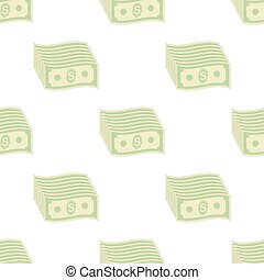 Set of Paper Dollars Seamless Pattern. US Currency - Set of...