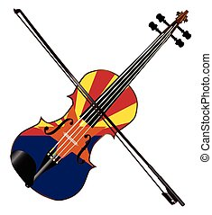 Arizona Fiddle - A typical violin with Arizona flag and bow...
