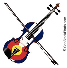 Colorado Fiddle - A typical violin with Colorado flag and...