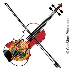 Florida Fiddle - A typical violin with Florida flag and bow...
