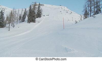 woman skiing alone
