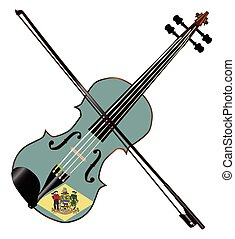 Delaware State Fiddle - A typical violin with Delaware state...