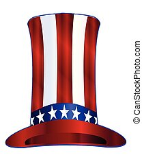 Uncle Sams Tall Hat - Red white and blue stars and stripes...