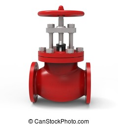 3d red water valve
