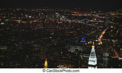 new york by night pan shot - pan shot over manhattan and...