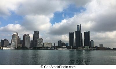 View Detroit skyline across river - A View of the Detroit...