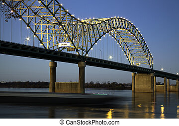 Barque under Hernando de Soto Bridge - Memphis, Tennessee