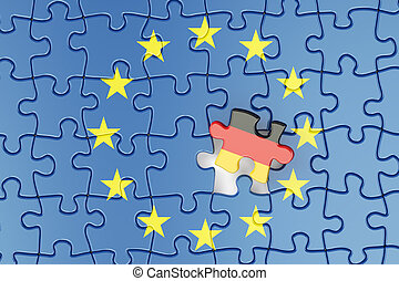 Germany and EU puzzles from flags, relation concept. 3d...